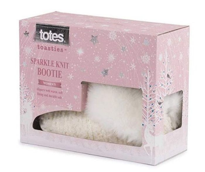 Cheap Totes Ladies Lurex Sequin Knit Boot Slippers, reduced by £4!