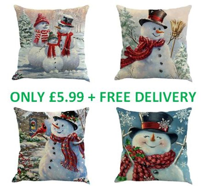 4 Christmas Cushion Covers - FREE DELIVERY