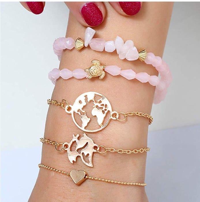 5Pcs/Set Lady World Map Heart Turtle Charm Irregular Rhinestone Beaded Bracelet