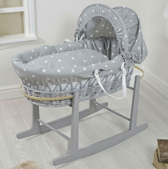Padded Grey Wicker Baby Moses Basket & Rocking Stand £44.95 with Discount Code