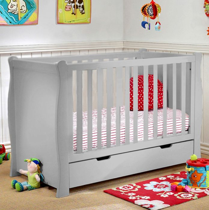 Puggle 3 in 1 Sleigh Cot with Drawer & Foam Mattress - Warm Grey or White
