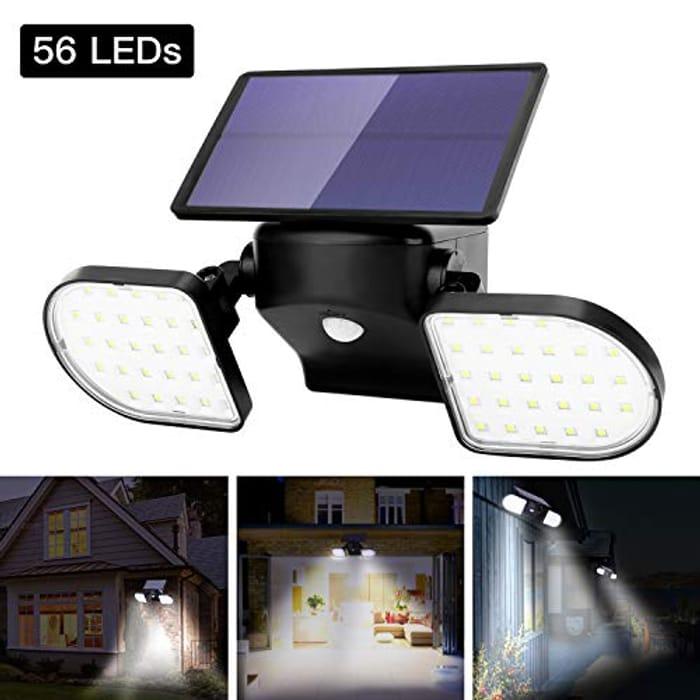 OUSFOT Outdoor Lights Solar Powered 56 LED Solar Lights Motion Sensor
