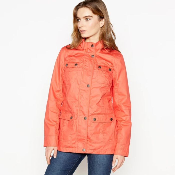 Mantaray - Peach Funnel Neck Waxed Showerproof Jacket