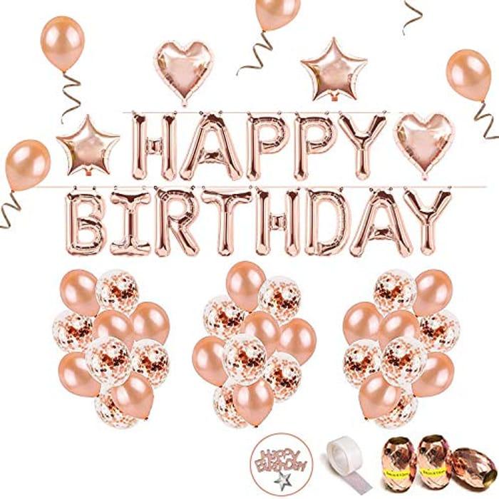 iZoeL 70pcs Birthday Decoration, Rose Gold Happy Birthday Banner - Save £6!