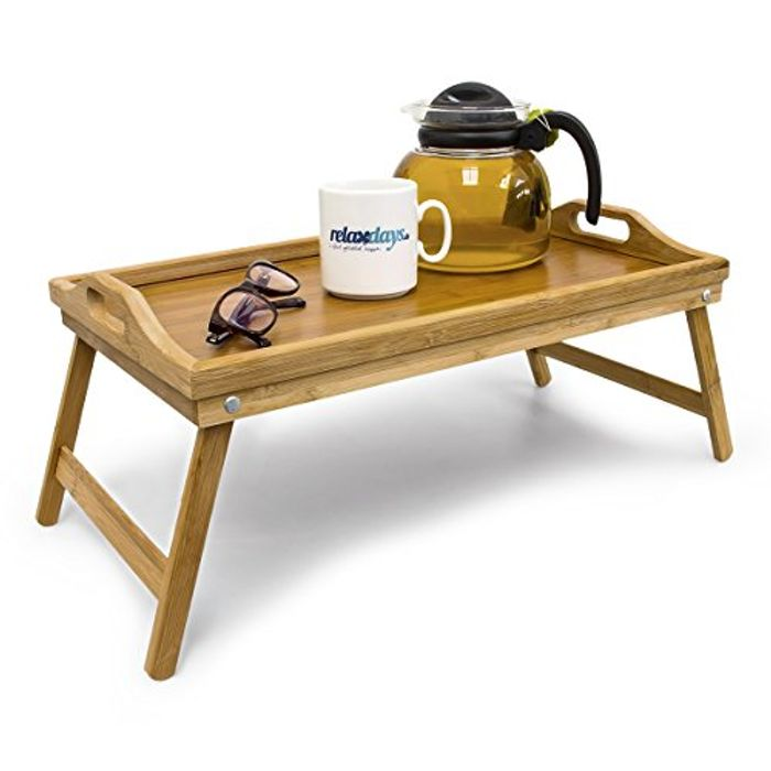 Best Ever Price! Relaxdays Bamboo Wooden Breakfast in Bed Tray