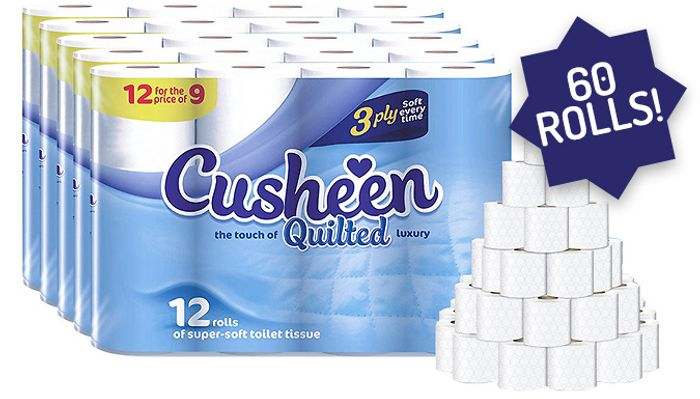 60-Pack of Cusheen Quilted White Toilet Rolls with 50% Discount - Great buy!