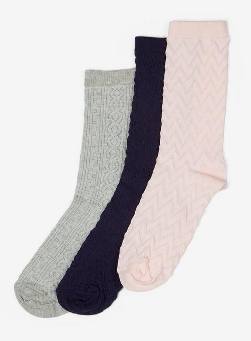 Multi Coloured 3 Pack Textured Socks save £5
