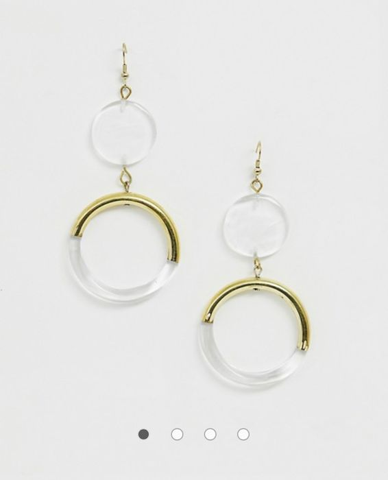 ASOS DESIGN Earrings in Clear Resin with Gold Tone Detail
