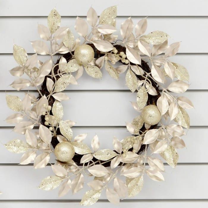 55cm Laurel Ball Artificial Christmas Wreath - Champagne