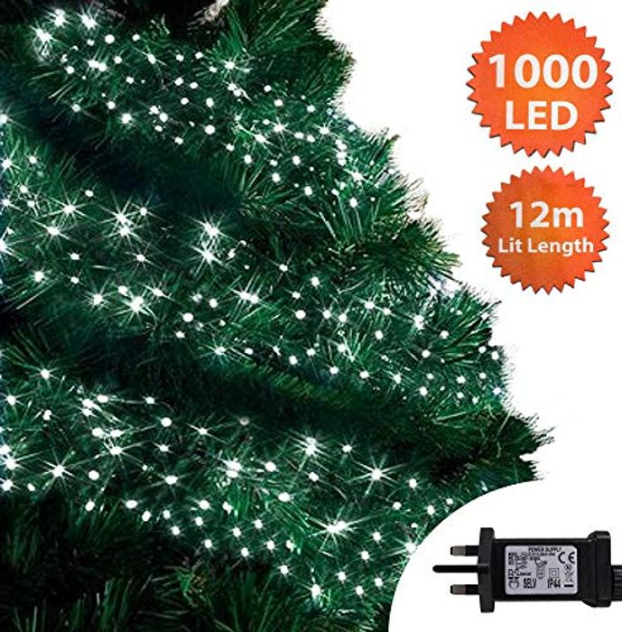 Christmas Lights 1000 LED 12m Bright/Cool White Outdoor Cluster Tree Lights