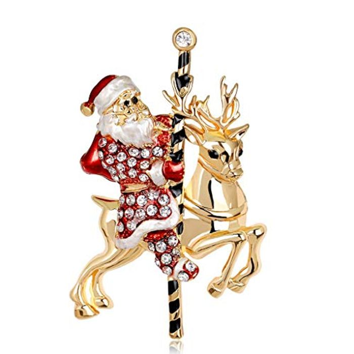 Christmas Brooch Pin Rhinestone Jewelry