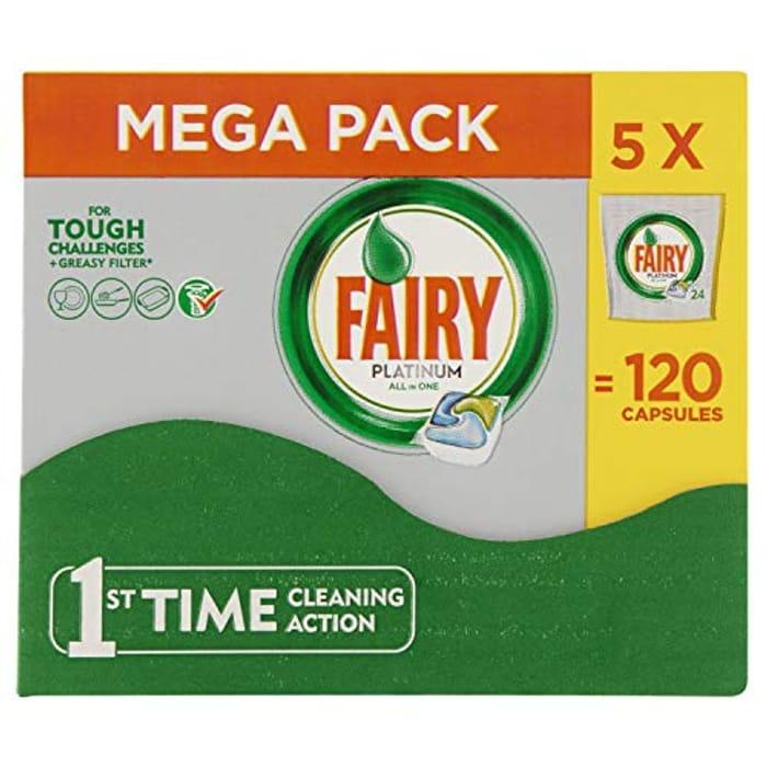 Fairy Platinum Dishwasher Tablets, 5 X 24 Tablets