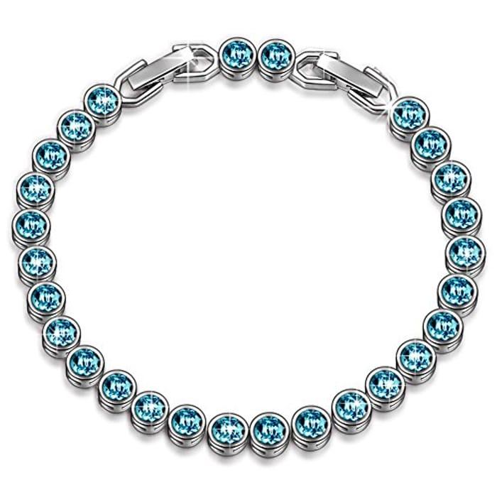 Crystal Aquamarine Tennis Bracelet