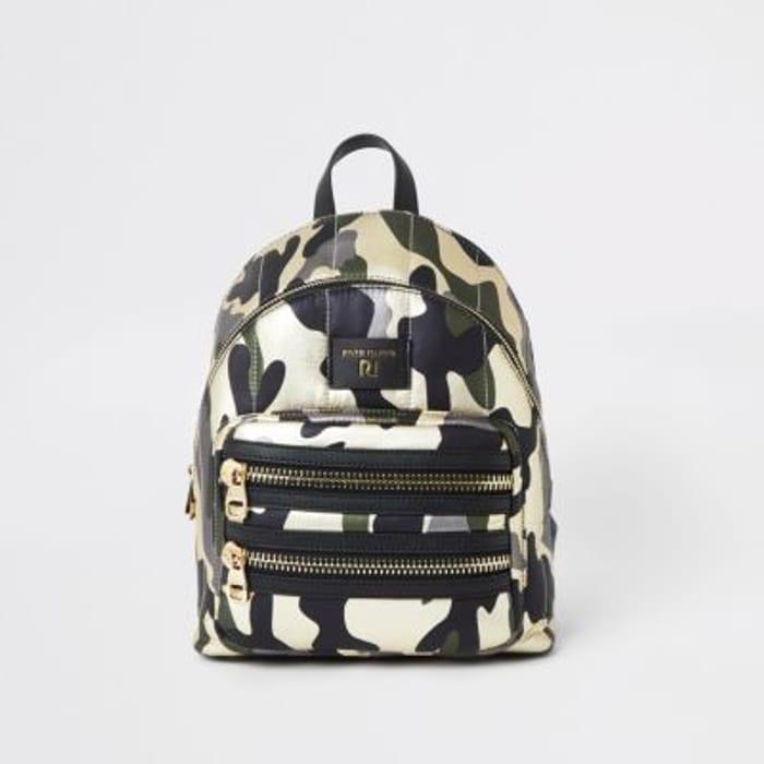 Dark Green Camo Print Backpack HALF PRICE