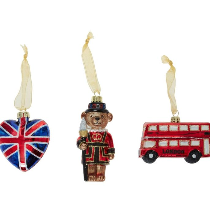Three Pack Multicoloured England Glass Baubles