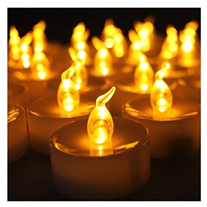 Set of 12 Amber Flickering LED Candles, Flameless Tea Lights