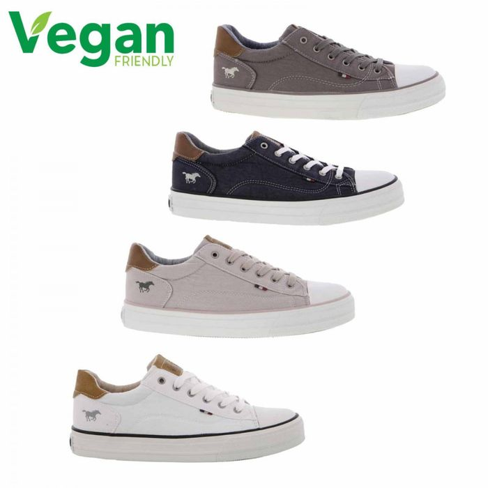 Cheap MUSTANG WOMENS VEGAN CANVAS TRAINERS SHOES - Only £29.99