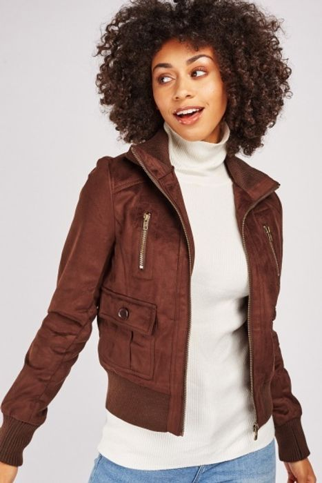 Faux Suede Bomber Jacket £5.00