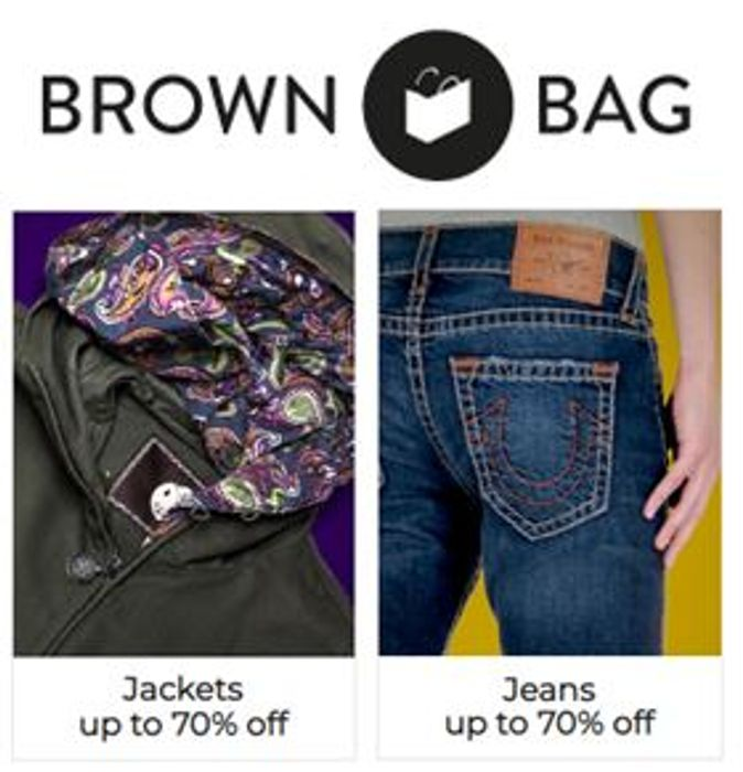 Special Offer Brown Bag - up to 70% Discount Jackets, Jeans, Sweats and Footwear