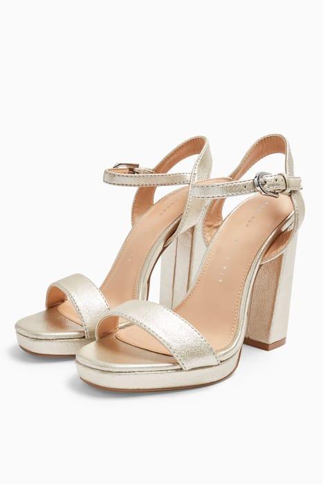 TOPSHOP - Wide Fit Sabine Silver Platform Heels