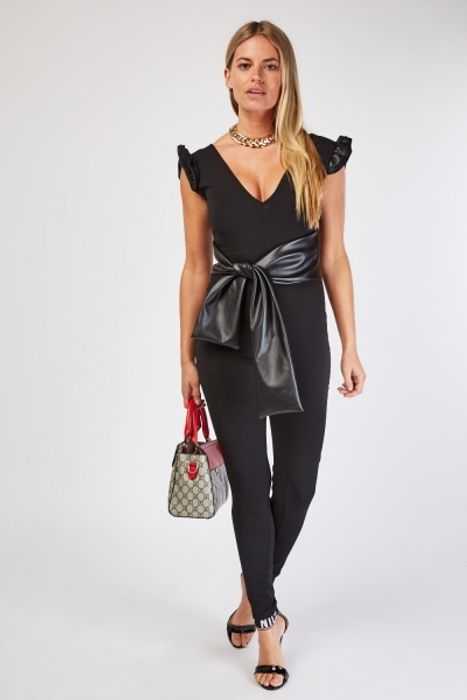 Faux Leather Oversized Belted Jumpsuit