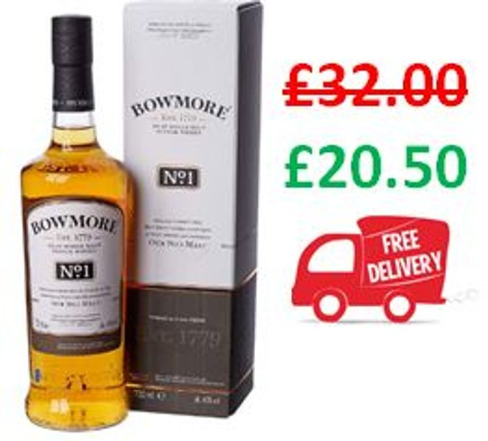 Best Price! Bowmore No.1 Single Malt Scotch Whisky, 70cl FREE DELIVERY