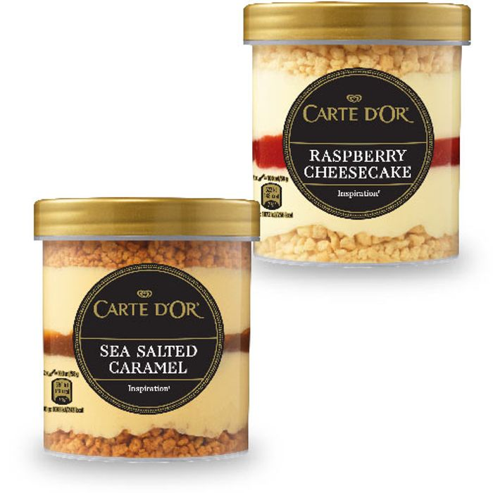 Carte DOr Sea Salted Caramel, Raspberry Cheesecake 430ml
