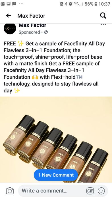 Max factor sponsored ad Facebook Free 3 in 1 Foundation Sample