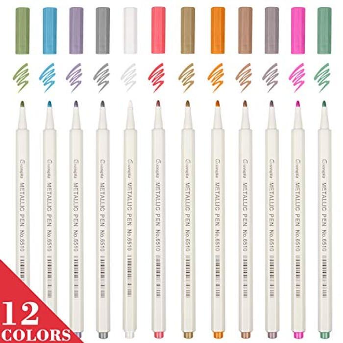 Set of 12 Metallic Marker Pens Assorted Colours
