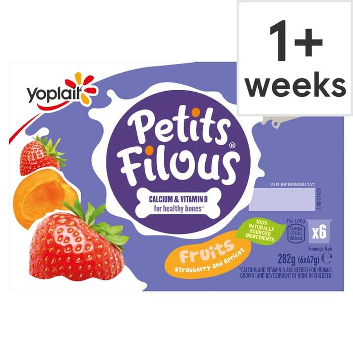 Petits Filous Apricot & Strawberry Fromage Frais 6X47g HALF PRICE