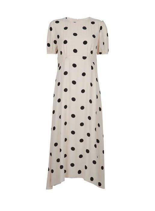 White Spot Print Puff Sleeve Tea Midi Dress - Only £17!
