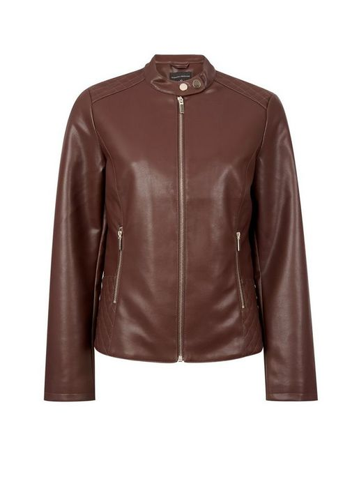 Brown Faux Leather Collarless Jacket - Only £23.31!