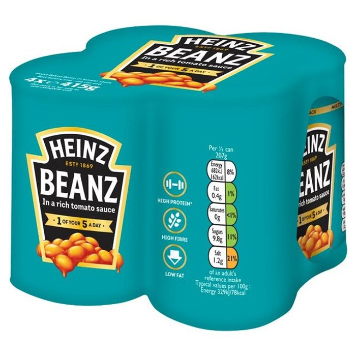 (Price Error) 4 X 415g Heinz Baked Beans + Heinz Tomato Ketchup 56%off@ Ocado