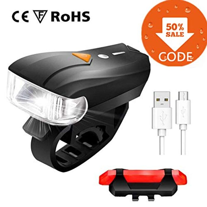 Bike Light Set, Rechargeable Bicycle Lights, £5.99 WITH VOUCHER