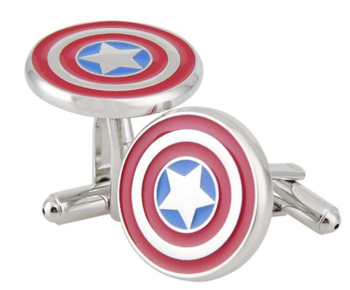 Rhodium Plated Captain America Cufflinks FREE DELIVERY