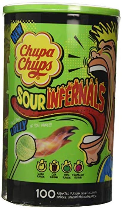 Looks like fun... Chupa Chups Sour Infernals 100 Lollipop Tube, 950 G