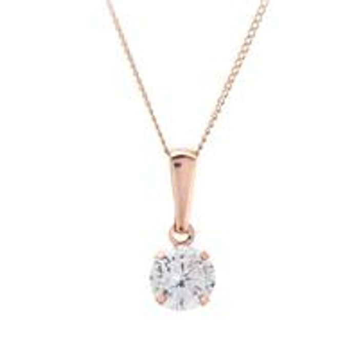 9ct Rose Gold CZ Solitare Necklace