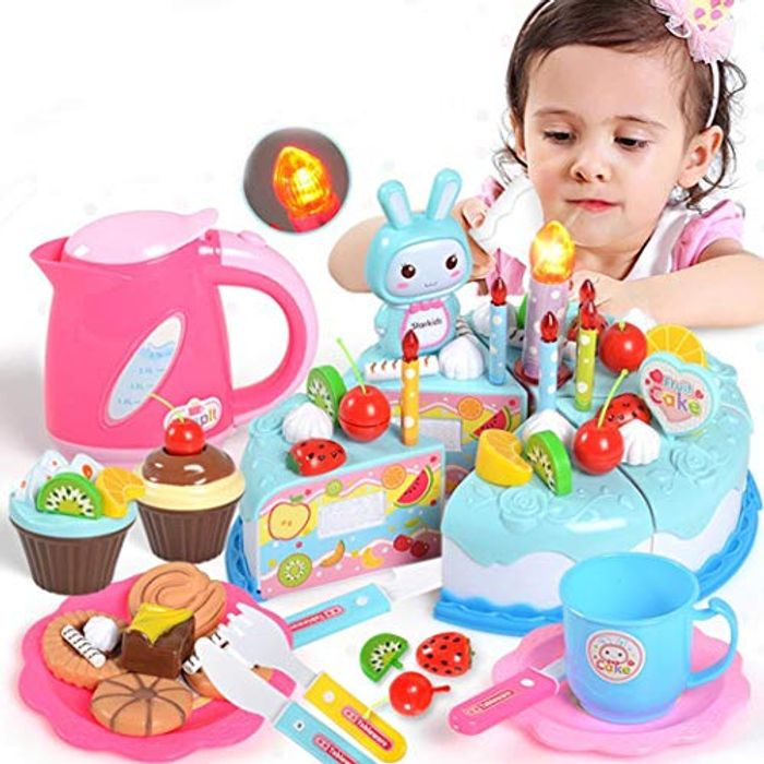 Cutting Toy Set Kids Birthday Party Cake Food Pretend Play Toy