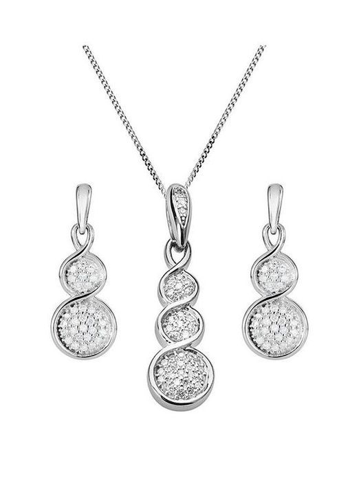 Love DIAMOND 9ct White Gold 15 Point Diamond Pendant Necklace & Earrings Set