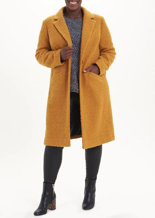 Papaya Curve Formal Single Button Teddy Coat Down From £28 to £40