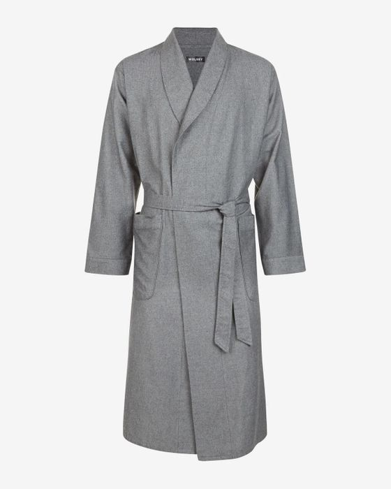 Wolsey GREY FINE HERRINGBONE COTTON ROBE
