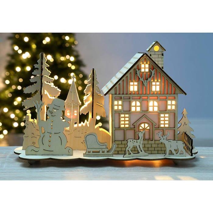 Pre-Lit Wooden Christmas Scene - Warm White LED Lights