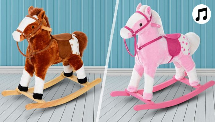 Plush Rocking Horse with Sound - 2 Colours