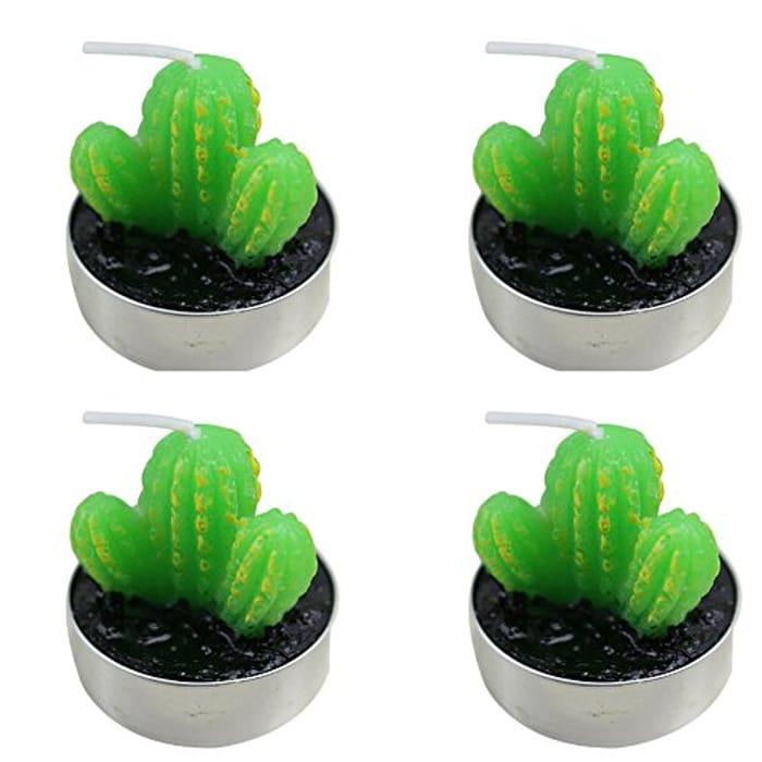 4 PCS Cactus Candle Decorative Tealight Gift