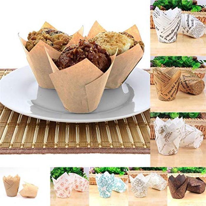 50Pcs Tulip Style Cake Paper Baking Cups 70% off + Free Delivery