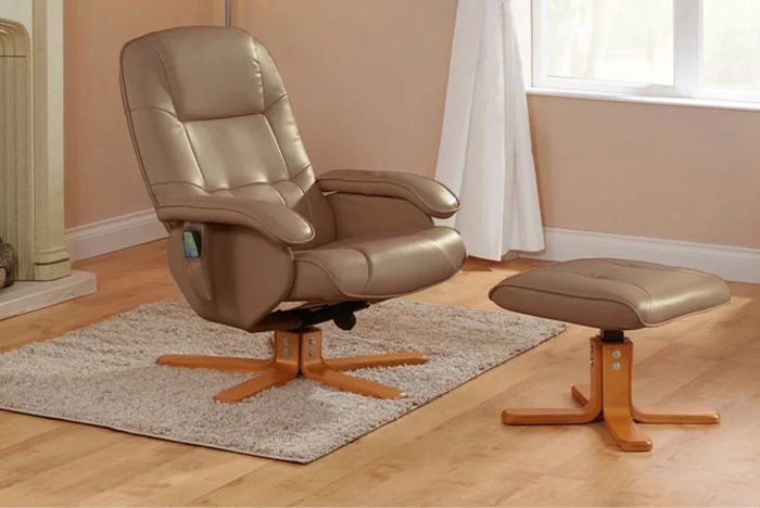 Reclining Swivel Chair & Footstool with Massage Option - 2 Colours!