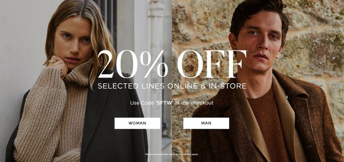 20% off Selected Lines Now Online and In-Store.