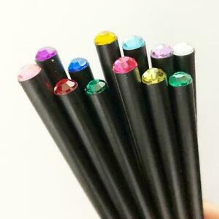 12Pcs Black Wood HB Pencil with Colorful Diamond School Gif Writing Pencils