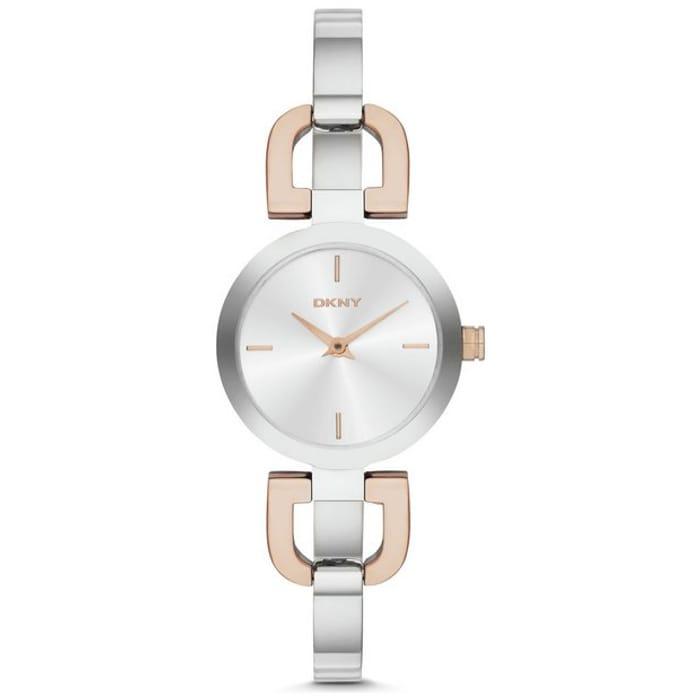 DKNY Ladies Silver Dial Stainless Steel Reade Watch