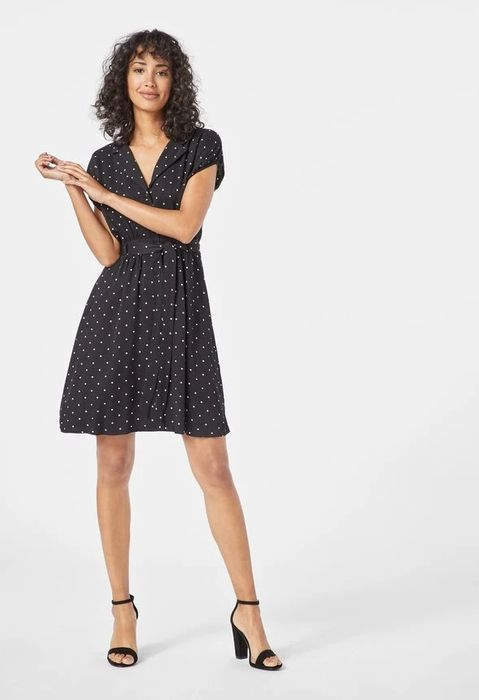 Belted Puff Sleeve Shirt Dress at Justfab